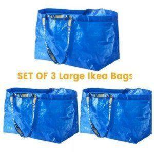 Set of (3) IKEA FRAKTA Shopping Bags Large